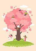봄, 벚꽃, 벚나무 (과수), 소풍 (아웃도어), 소풍, 그네 (놀이터시설)