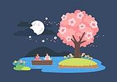 봄, 벚꽃, 벚나무 (과수), 소풍 (아웃도어), 소풍, 커플 (인간관계), 데이트, 밤 (시간대), 보름달
