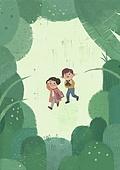 숲, 자연 (주제), 유기농, 숲속, 유치원, 유치원생, 장난치기 (감정), 프레임