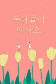 모바일백그라운드, 문자메시지 (전화걸기), 봄, 튤립, 커플, 사랑 (컨셉)