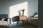 실내, 백그라운드, 햇빛 (빛효과), 뜨거움 (컨셉), 인테리어, 식물, 협탁, 서랍장 (가구), 침대, 소파, 가구, 창문