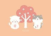 캐릭터, 동물, 귀여움 (물체묘사), 봄, 고양이 (고양잇과), 꽃