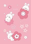 캐릭터, 동물, 귀여움 (물체묘사), 봄, 토끼 (토끼목), 꽃, 패턴