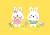 캐릭터, 동물, 귀여움 (물체묘사), 봄, 토끼 (토끼목), 꽃