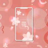 봄, 꽃, 연례행사 (사건), 상업이벤트 (사건), 벚꽃, 휴대폰 (전화기), 스마트폰, 프레임, 패턴, 기하학모양 (도형)