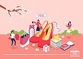 쇼핑 (상업활동), 미니어쳐, 봄, 벚꽃, 하이힐, 여성 (성별), 선물 (인조물건), 쇼핑백, 온라인쇼핑