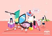 쇼핑 (상업활동), 미니어쳐, 봄, 벚꽃, 여성 (성별), 화장품 (몸단장제품), 선물 (인조물건), 온라인쇼핑