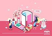 쇼핑 (상업활동), 미니어쳐, 봄, 벚꽃, 여성 (성별), 선물 (인조물건), 옷, 피팅룸 (옷가게), 온라인쇼핑