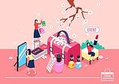 쇼핑 (상업활동), 미니어쳐, 봄, 벚꽃, 여성 (성별), 가방, 전신거울, 화장품 (몸단장제품), 온라인쇼핑