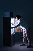 군것질, 야식, 배고픔, 비만, 비만 (건장한체격), 군것질 (Food And Drink), 냉장고