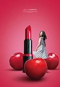 그래픽이미지, 잡지, 화장품 (몸단장제품), 여성, 드레스, 이벤트페이지, 팝업, 립스틱, 사과