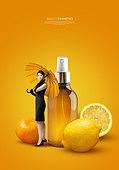 그래픽이미지, 잡지, 화장품 (몸단장제품), 여성, 드레스, 이벤트페이지, 팝업, 레몬