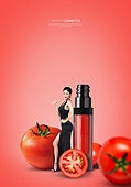 그래픽이미지, 잡지, 화장품 (몸단장제품), 여성, 드레스, 이벤트페이지, 팝업, 토마토