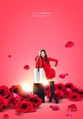 그래픽이미지, 잡지, 화장품 (몸단장제품), 여성, 드레스, 이벤트페이지, 팝업, 립스틱, 장미