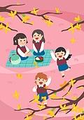 봄, 사람, 풍경 (컨셉), 나무, 꽃, 소풍 (아웃도어), 교복, 개나리
