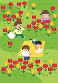 봄, 사람, 풍경 (컨셉), 나무, 꽃, 소풍 (아웃도어), 유치원생, 튤립, 풀 (식물)
