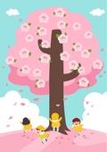봄, 사람, 풍경 (컨셉), 나무, 꽃, 소풍 (아웃도어), 유치원생, 벚꽃, 벚꽃축제