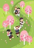 봄, 사람, 풍경 (컨셉), 나무, 꽃, 소풍 (아웃도어), 교복, 벚꽃, 벚나무 (과수)