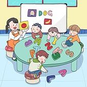 어린이 (나이), 유치원, 유치원생, 교육 (주제), 장난치기 (감정), 수업중 (교육), 교사 (교육직), 알파벳, 영어 (교과목)