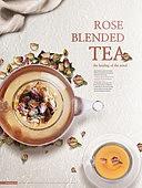 그래픽이미지, 편집디자인, 차 (뜨거운음료), 오브젝트 (묘사), 전단지, 팝업, 컵 (그릇), 유리잔 (그릇), 장미