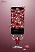 그래픽이미지, 삶의무게, 무거움, 책임 (컨셉), 고통, 스트레스, 스마트폰, 노모포비아 (신조어)