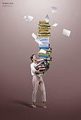 그래픽이미지, 삶의무게, 무거움, 책임 (컨셉), 고통, 스트레스, 비즈니스우먼, 서류