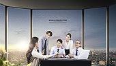 그래픽이미지, 비즈니스, 비즈니스미팅 (미팅), 사무실, 도시풍경 (도시), 토론 (커뮤니케이션), 대화, 스타트업, 희망 (컨셉)