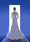 결혼, 우울 (슬픔), 메리지블루, 웨딩드레스 (드레스), 여성 (성별), 신부 (결혼식역할), 뒷모습, 문 (출입구)