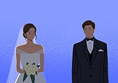 결혼, 우울 (슬픔), 메리지블루, 웨딩드레스 (드레스), 여성 (성별), 신부 (결혼식역할), 턱시도, 남성 (성별), 신랑, 불확실성 (컨셉)