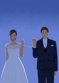 결혼, 우울 (슬픔), 메리지블루, 웨딩드레스 (드레스), 여성 (성별), 신부 (결혼식역할), 턱시도, 남성 (성별), 구속 (컨셉), 수갑, 우울, 스트레스
