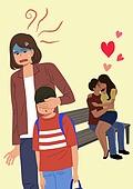 진상손님 (신조어), 스트레스, 무례 (컨셉), 커플, 애정 (밝은표정) 스킨십 (밝은표정), 공공건물 (건설물), 벤치, 어린이 (나이), 엄마