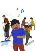 진상손님 (신조어), 스트레스, 무례 (컨셉), 직업 (역할), 서비스업 (직업), 어린이 (나이), 청소제품 (클리닝도구)