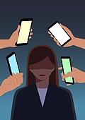 SNS (기술), 챗봇 (기술), 스마트폰, 사무실 (업무현장), 직업 (역할), 사람, 스트레스
