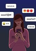 SNS (기술), 챗봇 (기술), 스마트폰, 사무실 (업무현장), 직업 (역할), 사람, 말풍선, 스트레스