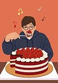 플렉스, 휴가 (주제), 취미, 기쁨, 행복, 휘게 (컨셉), 욜로 (컨셉), 라이프스타일, 사람, 딸기, 케이크 (달콤한음식)