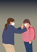 마스크 (방호용품), 바이러스, 두려움, 공포 (어두운표정), 심각, 우울, 사람, 코로나19 (코로나바이러스), 엄마, 어린이 (나이)