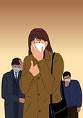 마스크 (방호용품), 바이러스, 두려움, 공포 (어두운표정), 심각, 우울, 사람, 코로나19 (코로나바이러스)