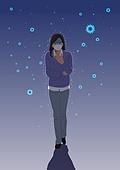 마스크 (방호용품), 바이러스, 두려움, 공포 (어두운표정), 심각, 우울, 사람, 코로나19 (코로나바이러스), 여성 (성별)