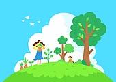 식목일, 봄, 기념일, 환경보호 (환경), 풀 (식물), 여성 (성별), 애완견 (개)