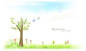 일러스트, 벡터 (일러스트), 봄, 백그라운드 (주제), 봄꽃, 자연, 새싹, 하늘