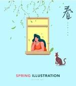 일러스트, 벡터 (일러스트), 여성, 봄, 고양이, 창가, 휴식