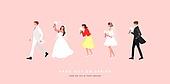사람, 줄선사람 (일렬), 봄, 결혼, 신랑, 신부 (결혼식역할), 웨딩드레스 (드레스), 결혼식하객 (결혼식역할)