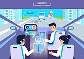 기술 (과학과기술), 4차산업혁명 (산업혁명), 무인자동차 (자동차), 비즈니스, 홀로그램, 비즈니스미팅 (미팅), 화상통화