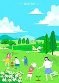 맑은하늘 (하늘), 식목, 식목일, 봄, 나무, 자연 (주제), 자연풍경, 풍경 (컨셉), 환경보호 (환경), 풀 (식물), 가족