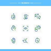 아이콘, 아이콘세트 (아이콘), 선 (인조물건), 비즈니스, 기술 (과학과기술), 4차산업혁명 (산업혁명), 첨단기술 (기술), 아이스캐너 (생체인식), 보안 (컨셉)