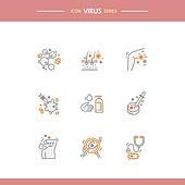 아이콘, 아이콘세트 (아이콘), 선 (인조물건), 바이러스, 바이러스감염, 질병, 건강한생활 (주제), 건강관리 (주제)