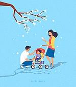 사람, 가족, 라이프스타일, 라이프스타일 (주제), 함께함 (컨셉), 봄, 벚꽃, 유모차, 부부