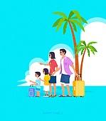 사람, 가족, 라이프스타일, 라이프스타일 (주제), 함께함 (컨셉), 부부, 커플, 어린이 (나이), 휴가, 야자나무 (열대나무), 여행가방 (짐)