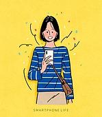 상업이벤트 (사건), 스마트폰, 감정, 사람, 청년 (성인), 쇼핑 (상업활동), 여성 (성별), 기쁨, 당첨 (행운), 꽃가루