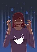 스트레스, 고통, 감정, 바이러스, 코로나바이러스, 코로나19 (코로나바이러스), 피부트러블, 마스크 (방호용품), 충격 (컨셉)